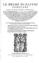 Le Deche Delle Historie Romane ; Tradotte nella lingua Toscana, da Jacopo Nardi (etc.)