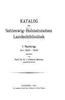 Katalog der Provinzial-Bibliothek für Schleswig-Holstein: 1898-1906