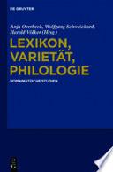 Lexikon, Varietät, Philologie