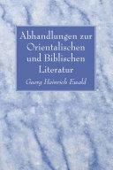 Abhandlungen zur Orientalischen und Biblischen Literatur [Pdf/ePub] eBook