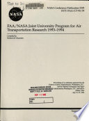 FAA NASA Joint University Program for Air Transportation Research 1993 1994