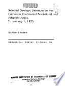Selected Geologic Literature On The California Continental Borderland And Adjacent Areas To January 1 1975