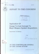 Application of Design-to-cost Concept to Major Weapon System Acquisitions, Department of Defense