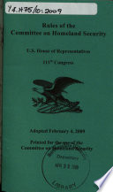 Rules Of Procedure For The Committee On Homeland Security U S House Of Representatives