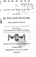 Marwnad er coffadwriaeth am y Parchedig Mr W  Williams  etc   Edited by D  ap Joan