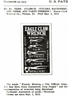 [1913 Trademark Application for Eagle Claw Wrenches]