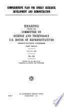 Comprehensive Plan for Energy Research  Development and Demonstration  Hearing Before      94 1  July 21  1975