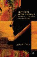 Pdf Criticism after Critique Telecharger