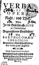 Verba, Et Opera