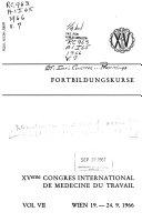 XVème Congres international de medecine du travail, Wein, 19-24 September 1966
