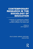 Contemporary Research in the Sociology of Education (RLE Edu L)