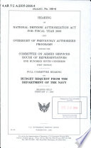 Hearing On National Defense Authorization Act For Fiscal Year 2006 And Oversight Of Previously Authorized Programs Before The Committee On Armed Services House Of Representatives One Hundred Ninth Congress First Session