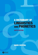 Pdf A Dictionary of Linguistics and Phonetics