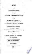 Acts Passed At The Session Of The Legislature Of The State Of Louisiana