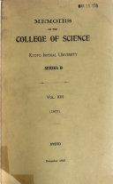 Memoirs of the College of Science  Kyoto University