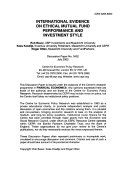 International Evidence on Ethical Mutual Fund Performance and Investment Style