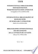 Bibliographie internationale des recensions de la littérature savante