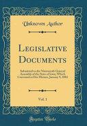 Legislative Documents Vol 1
