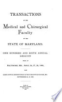 Transactions of the Medical and Chirurgical Faculty of the State of Maryland