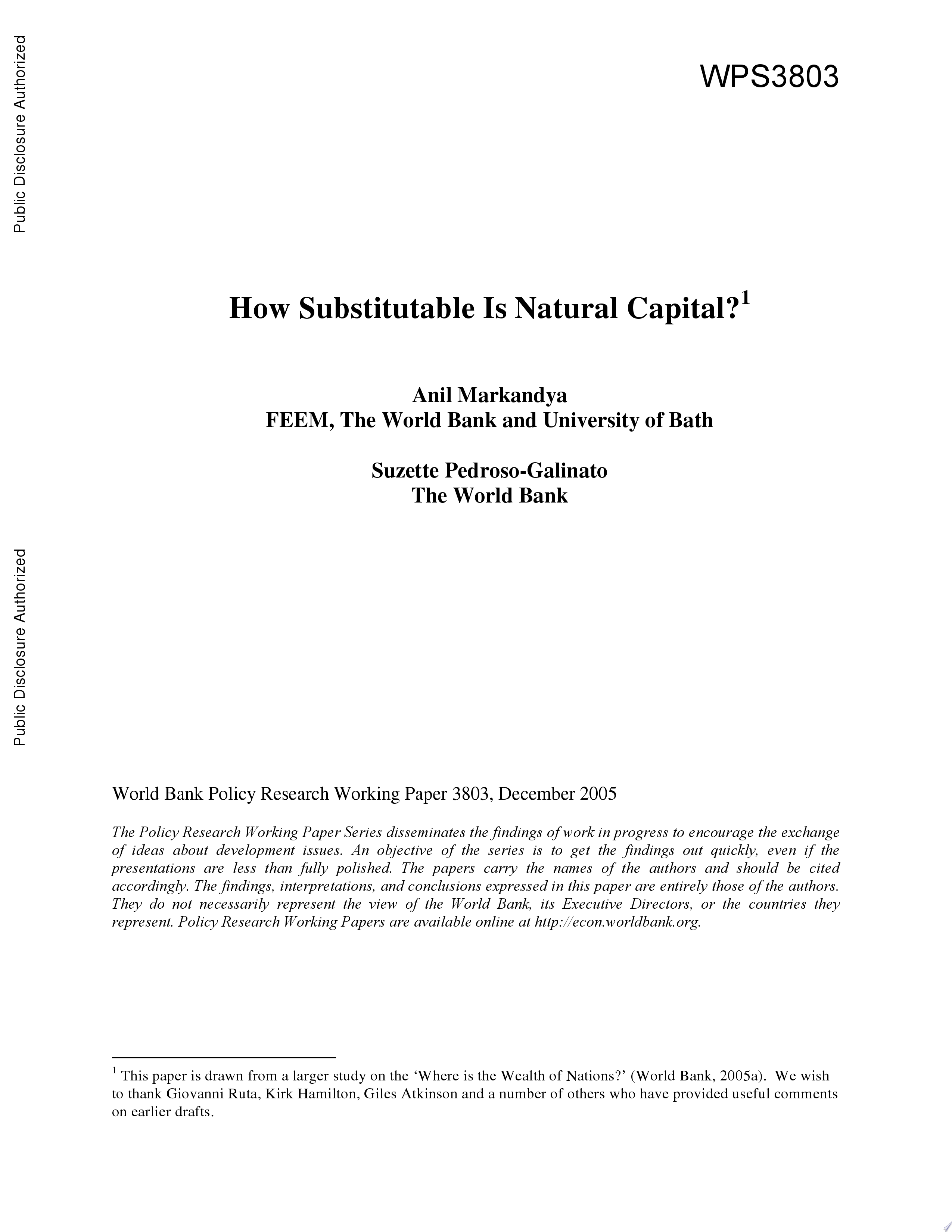 How Substitutable is Natural Capital