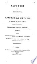 Letter to the Editor of the Edinburgh Review  by Major Scott Waring  in Reply to the Critique on Lord Lauderdale s View of the Affairs of the East India Company  Published in the 30th Number of the Edinburgh Review Book