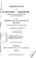 Reminiscences of Captain Gronow