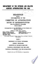 Department of the Interior and Related Agencies Appropriations for 1989: Testimony of public witnesses, energy programs, Institute of Museum Services, National Endowment for the Arts, National Endowment for the Humanities