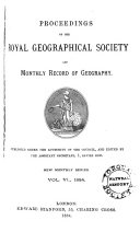 Proceedings of the Royal Geographical Society and Monthly Record of Geography
