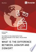 What is the difference between Judaism and Zionism  The impact of religion on political decision making in the Israeli Palestinian conflict