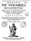 Notizia de' vocaboli ecclesiastici e de riti sacri