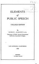 Elements Of Public Speech