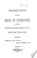 Proceedings of the Board of Supervisors  of the County of Schenectady