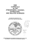Curricula in the Atmospheric  Oceanic  Hydrologic  and Related Sciences Book