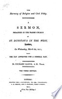 The Harmony of Religion and Civil Polity. A Sermon [on 1 Peter Ii. 17] Preached ... March 20, 1811, Being the Day Appointed for a General Fast. Third Edition