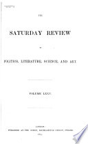 Saturday Review of Politics  Literature  Science and Art