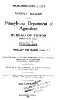 Monthly Bulletin Of The Pennsylvania Department Of Agriculture Dairy And Food Bureau