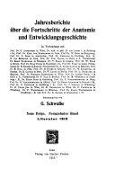 Jahresberichte   ber die Fortschritte der Anatomie und Entwicklungsgeschichte Book
