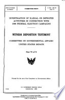 Investigation of Illegal Or Improper Activities in Connection with 1996 Federal Election Campaigns