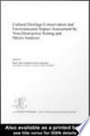 Cultural Heritage Conservation and Environmental Impact Assessment by Non-Destructive Testing and Micro-Analysis