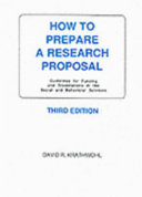 How to Prepare a Research Proposal