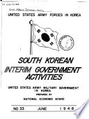 U.S. Army Forces in Korea, South Korean Interim Government Activities, U.S. Army Military Government in Korea