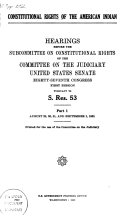 Constitutional rights of the American Indian