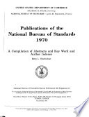 Publications Of The National Bureau Of Standards     Catalog