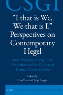 I that is We  We that is I   Perspectives on Contemporary Hegel