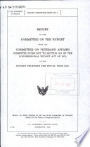 Report to the Committee on the Budget from the Committee on Veterans' Affairs