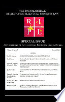 Applications Of Intellectual Property Law In China Book PDF