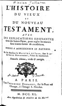 L'histoire du Vieux et du Nouveau Testament ... par feu monsieur Le Maistre de Sacy