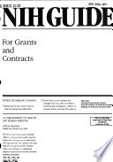 Nih Guide For Grants And Contracts