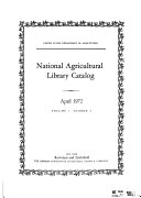 National Agricultural Library Catalog Book