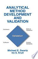 Analytical Method Development and Validation Book